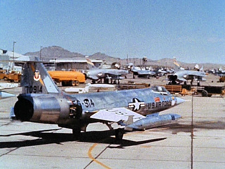 F-104C Starfighter 57-0914, 435th TFS photographed at George AFB, 1965. Aircraft was deployed to Ubon RTAFB, Thailand 1966 and assigned to 8th TFW. Crashed due to engine failure over Thailand 16 January 1967 - George Air Force Base