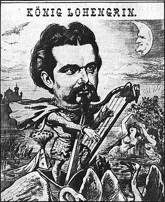 Lohengrin (opera) - Ludwig II of Bavaria portrayed as Lohengrin below a moon with Wagner's face. Brochure in Der Floh, 1885.