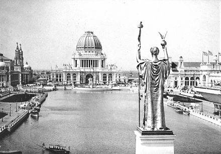 Court of Honor at the World's Columbian Exposition in 1893 Looking West From Peristyle, Court of Honor and Grand Basin, 1893.jpg