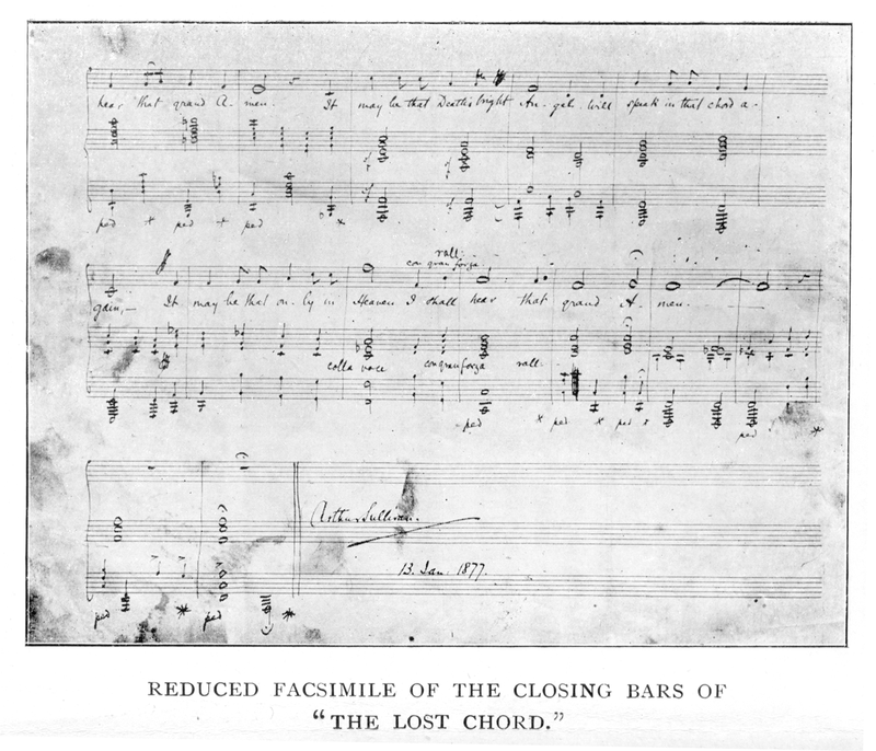 "The closing bars, with Sullivan's signature and the date ""13 Jan. 1877"" Lost Chord closing bars from Arthur Sullivan by H. Saxe Wyndham, With a Chapter by Ernest Ford, London, George Bell and Sons, 1903.png"