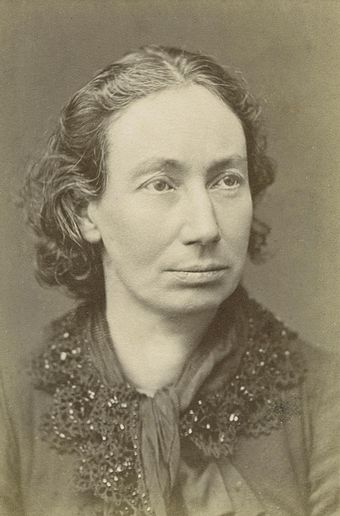 "Louise Michel, anarchist and famed ""Red Virgin of Montmartre"", became an important part of the legend of the Commune. Louise Michel2.jpg"