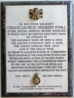 Lt Col. Collis George Herbert St. Hill (1865-1917); Mural monument in Bradninch Church, Devon