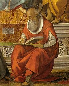 Luca signorelli, vergine in trono e santi, volterra, dettaglio san girolamo