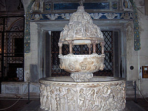 Basilica of San Frediano - 12th century baptismal font.