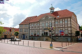 Lüchow - The marketplace with the old City Hall in the background.
