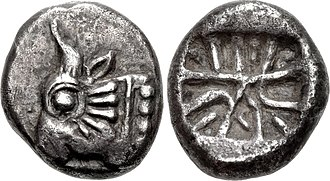Achaemenid coinage - Lycia coin, with obverse bull protome and reverse incuse punch mark using a geometrical motif, circa 520-470 BC.