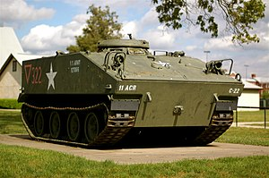 M114 armored fighting vehicle - M114 in markings of the U.S. 11th Armored Cavalry Regiment on display at the Fort George G. Meade Museum