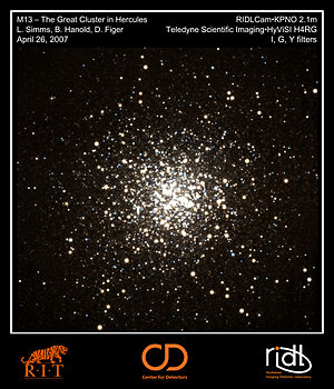 Center for Detectors - Color image of M13, the Great Cluster in Hercules, taken by CfD personnel using the Teledyne Hawaii 4RG SiPIN detector (HyViSI). This was the first demonstration of this device in an astronomical application.