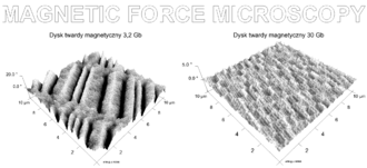 Magnetic force microscope - MFM images of 3.2 Gb and 30 Gb computer hard-drive surfaces.