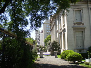 National Museum of Decorative Arts, Buenos Aires - The gardens and the neighboring Argentine Automobile Association.