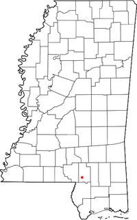 Location of Baxterville, Mississippi