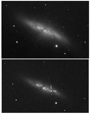 Messier 82 - Supernova in M 82 on 21 January 2014. (The same view, from 10 December 2013 for comparison)