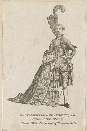 Chevalier d'Éon - Caricature of d'Éon dressed half in women's clothes, half in men's clothes