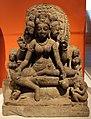 Madhya pradesh o rajasthan, dea madre brahmani seduta nella posizione reale (lalitasana) con servitori, ix secolo.jpg