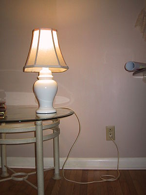 Mains electricity -  A table lamp connected to a wall socket (the mains)