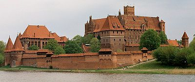 The fortress Ordensburg Marienburg, founded in 1274, the world's largest brick castle and the Teutonic Order's headquarters on the River Nogat.
