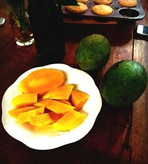 "Mangifera caesia - Mangifera caesia fruits from Lapuyan, Zamboanga del Sur, prepared in a typical Filipino fashion for a ""merienda"" or snack."