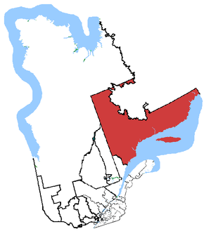 Manicouagan (electoral district) - Manicouagan in relation to other Quebec federal electoral districts
