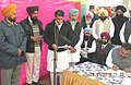 Manish Tewari addressing after laying the foundation stone of Street Drains & Sewerage Works, at Village Singhpura, in District Ludhiana on January 26, 2013.jpg
