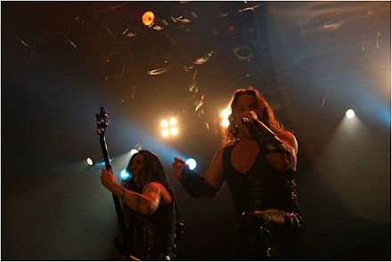 Manowar (seen here in 2009) is an early example of a band that made use of Viking themes. Manowar band.jpg