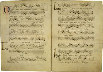 Loyset Compère - Manuscript of Omnium bonorum plena, a motet by Compère, and possibly his earliest surviving work; the exact date is uncertain, but it was possibly written for the dedication of Cambrai Cathedral on 2 July 1472.