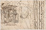 Manuscript page with a Project for a Fountain (recto) and Project and Plan for a Monumental Staircase (verso) MET DP801677.jpg