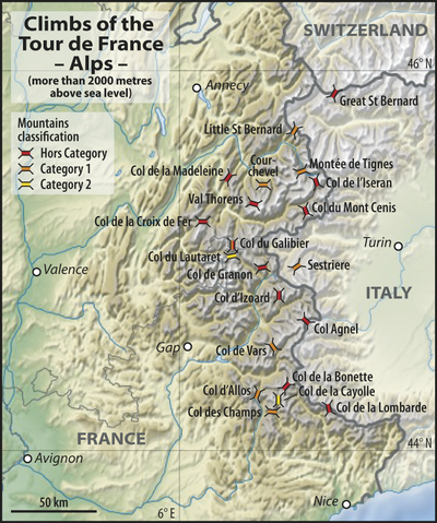 Map Of The Alps In France.File Map Climbs Tdf Alps Png Wikimedia Commons