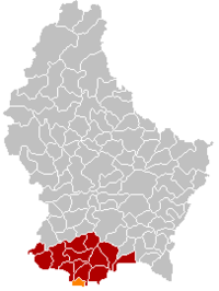 Map of Luxembourg with Rumelange highlighted in orange, the district in dark grey, and the canton in dark red