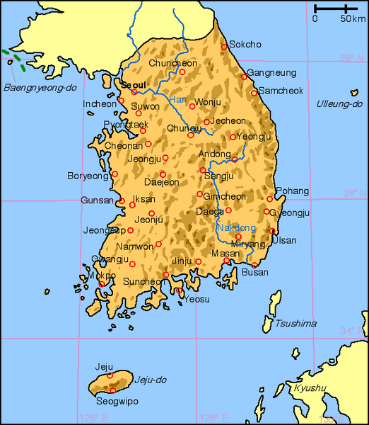 north korea map. north korea map at night.