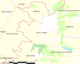 Mapa obce Saint-Thomas