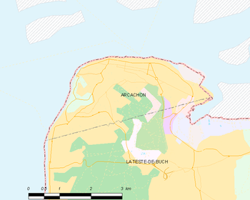 Map of the commune of Arcachon