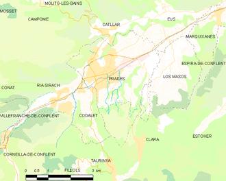 Prades, Pyrénées-Orientales - Map of Prades and its surrounding communes