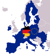 Map of Europe with European and German flag.png