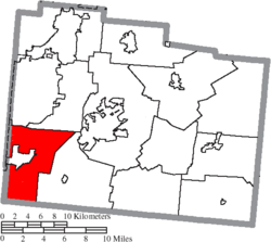 Location of Sugarcreek Township in Greene County