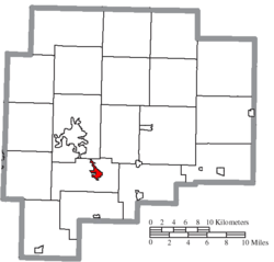 Location of Byesville in Guernsey County