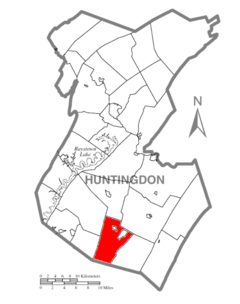 Map of Huntingdon County, Pennsylvania Highlighting Clay Township.PNG
