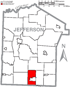 Map of Jefferson County, Pennsylvania Highlighting Young Township.PNG
