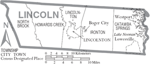 Map of Lincoln County, North Carolina With Municipal and Township Labels
