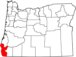 map of Oregon highlighting Curry County