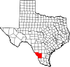 State map highlighting Webb County