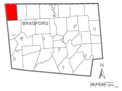 Map of Bradford County with Wells Township highlighted