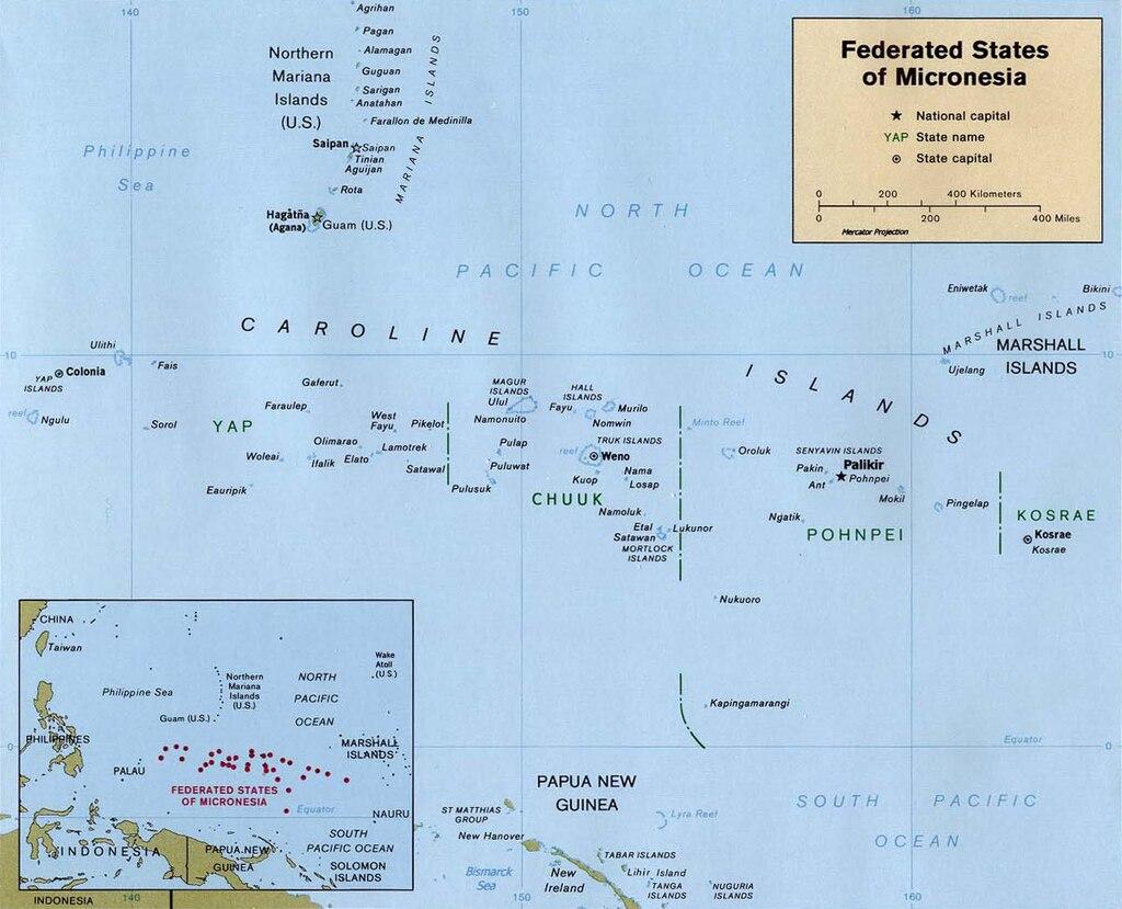 Mapa de Micronesia que refleja las islas Carolinas.