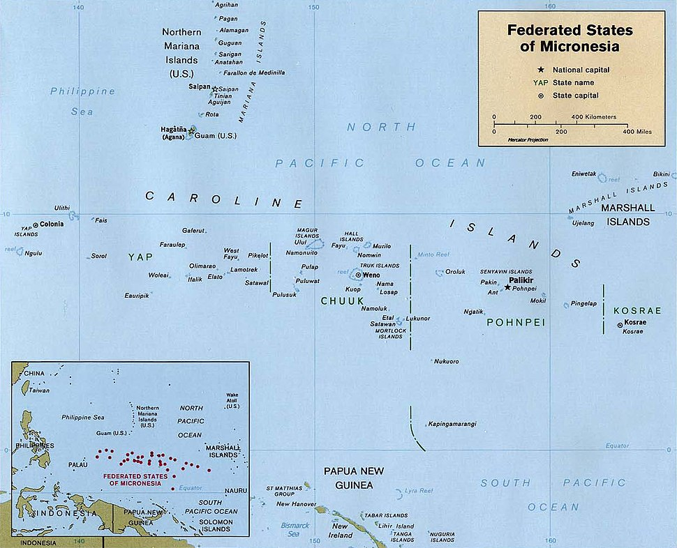 Map of the Federated States of Micronesia CIA
