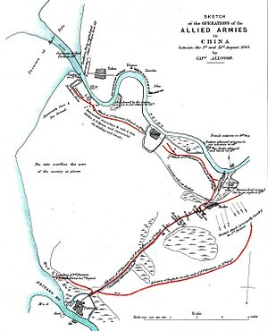 History of the Port of Tianjin - Contemporary map of the third battle of the Taku Forts, showing the layout of the Haihe mouth in 1860. Note that north is to the bottom of the image.