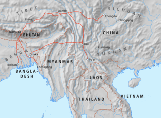 Tea Horse Road network of caravan paths winding through the mountains of Southwest China and extending to Bengal in South Asia