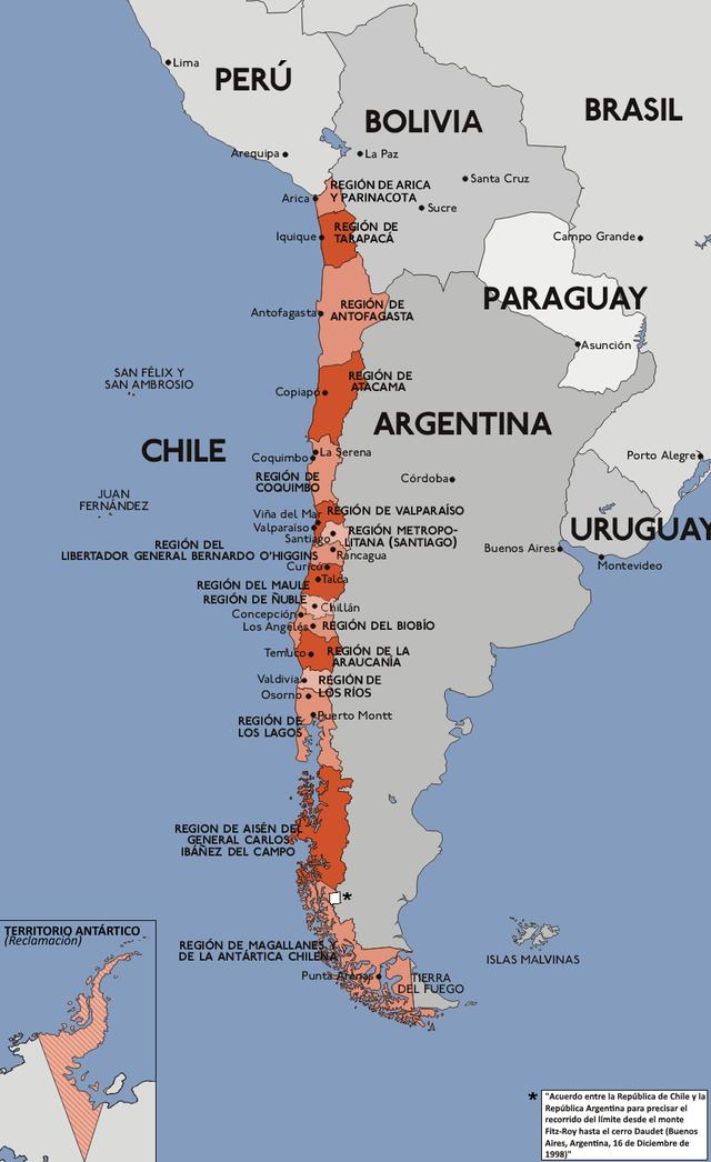 Mapa Politico De Chile.Anexo Puntos Extremos De Chile Wikiwand