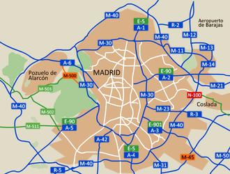 Transport in Madrid - Madrid's motorway hub network