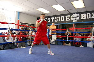 Media workout with Marcos Maidana at the Wests...