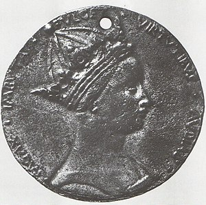 Margaret of Anjou - Portrait medallion of Margaret of Anjou, by Piero da Milano, 1463