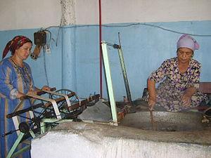 Margilan - Silk production in a factory in Margilan, Fergana Valley, Uzbekistan